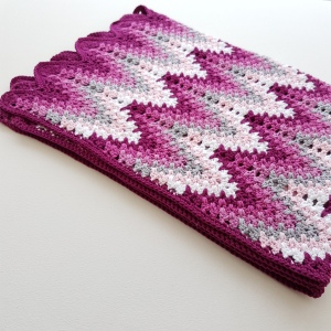 Heartbeat ripple, crochet babyblanket, virkad babyfilt